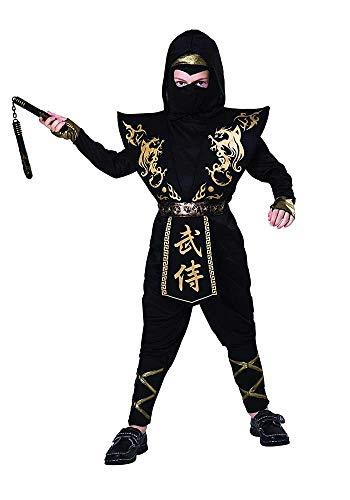 Mr.Giggelz Kinderkostüm - Ninja - Goldener Drache - Größe S (Black Ninja Kinder Kostüm)