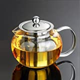 Tosnail Teekanne mit Filtereinsatz / Kanne aus Glas / Deckel und Filtereinsatz aus rostfreiem Edelstahl / für 1,3 Liter