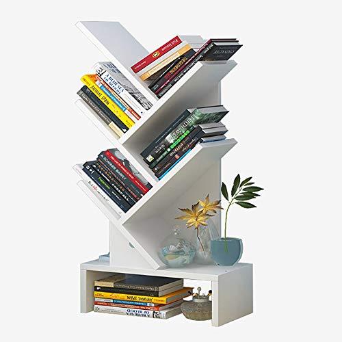 DULPLAY MDF Albero A Forma di Scaffale Libreria da Parete,mensole Legno da Terra-Piedi Impermeabile Ispessita Moderna Mobili per I Record & Libri-b 30x17x66cm(12x7x26inch)