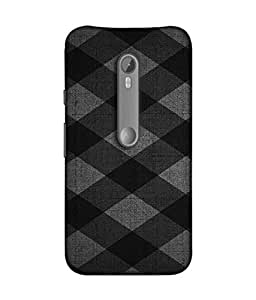 PrintVisa Designer Back Case Cover for Motorola Moto X Style :: Moto X Pure Edition (Diagonal Lines Boxes Grey Black Colors)