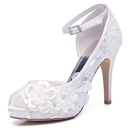 YOOZIRI white Lace Wedding Shoes For Bridal with Floral Brooches Medium Heel-4inch-Peep Toe (EUR41) Floral Peep-toe-heels