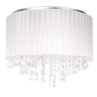 Runde Deckenleuchte / Deckenlampe LED von [lux.pro]® - Modernes Design: Aluminium, Stoff, Triton Crystal-Leuchte - 4 x G9 Sockel -