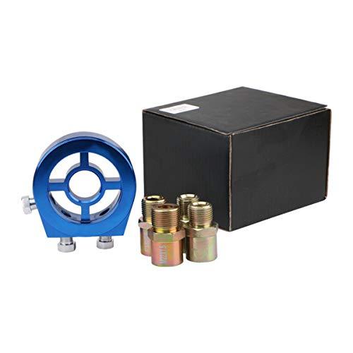 Aluminium Universal Auto Öltemperatur Öldruckanzeige Kühlfilter Sandwich Plate Adapter Zubehör-Kit - Blau
