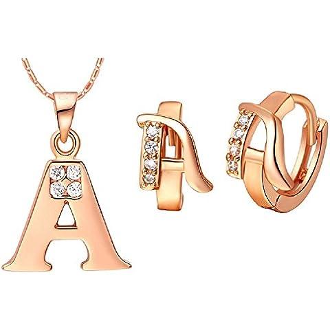 Bling fashion 18K oro rosa placcato 26lettere lettera a collana e (Dragonfly 9 Accent)