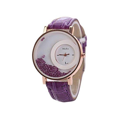 HUIHUI Uhren Damen, Geflochten Armbanduhren Günstige Uhren Wasserdicht Casual Strass Rivet Kette Runde Quarz Analog Armband Armbanduhr Coole Uhren Lederarmband Mädchen Frau Uhr (Lila) Casual Strass