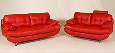 SANDY 2 + 3 Seater Sofa Suite in Black, Brown or Red PU Leather