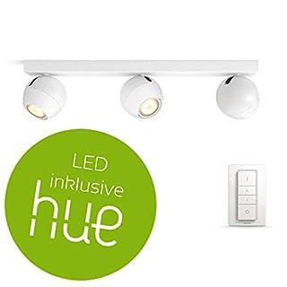 PHILIPS HUE White Ambiance Buckram Deckenleuchte 3-er Spot, inkl. Dimmschalter | weiß | LED-Wandlampe mit Fernbedienung | Kompatibel mit AMAZON ECHO/ALEXA und APPLE HOMEKIT | App-Steuerung | GU10