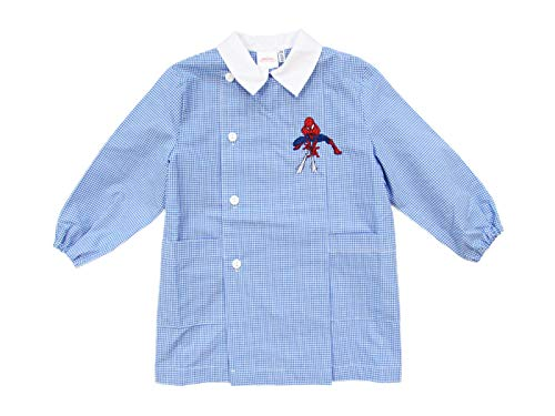 Siggi & marvel grembiule blu bambino asilo spiderman 2/6 anni azzurro/bianco - art. 3104 (5 anni | 110 cm, azzurro)