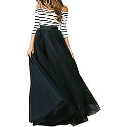 OUFour Mujer Sexy Camisetas + Maxi Falda de Playa Slim 3/4 Manga Rayas Blusa Sin Hombros Tops Drapeado Largo Faldas de Fiesta Noche Cóctel Partido