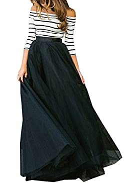 Mujer Sexy Camisetas + Maxi Falda de Playa Slim 3/4 Manga Rayas Blusa Sin Hombros Tops Drapeado Largo Faldas de...