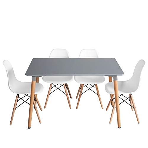Ventamueblesonline Pack Mesa Beech Gris Y 4 SILLAS Tower Wood ...