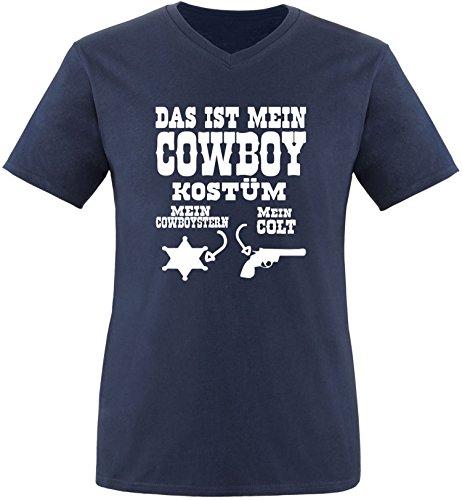 Luckja Das ist mein Cowboy Kostüm Herren V-Neck T-Shirt Navy/Weiß
