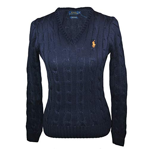 Ralph Lauren Polo Damen V Neck Zopfpullover Kimberly Navy Größe L