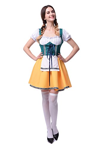 Damen Deutschland Oktoberfest Kleid Kellnerin Maid Kostüm Plus Size (EU 38, (Wench Size Plus Kostüm)
