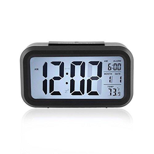 LXMAO Reloj Despertador, Alarma Despertador Digital con Snooze, Sensor de luz, Fecha, Temperatura, Negro