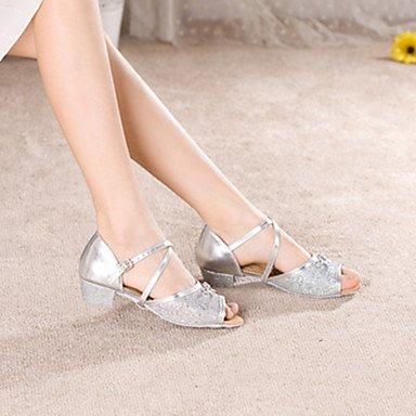 Silence @ Femme/enfants Chaussures de danse latine Paillettes Talon bas Plus de couleurs Silver