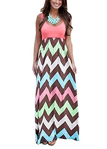 SMITHROAD Damen A-Line Kleid Bohemien Aufdruck Print Gestreift Sommerkleid Tailliert