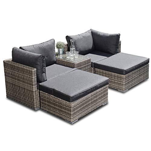 Multi-Lounge Samoa inkl. passender Schutzhülle | Farbe: Hellgrau/Grau | in 3 Farben erhältlich | Gartenlounge kann in 14 Verschiedene Kombinationen aufgebaut Werden -