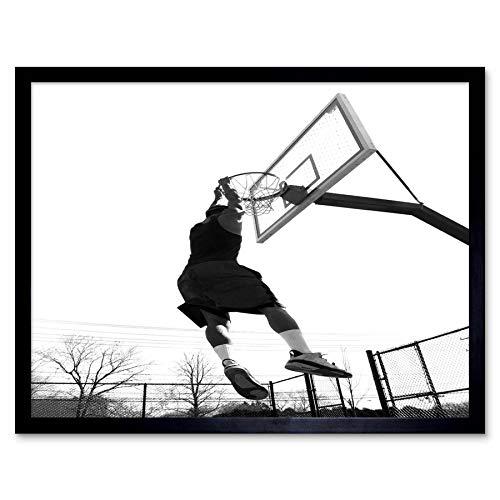 tograph Composition Basketball Hoop Slam Dunk Sport Art Print Framed Poster Wall Decor Kunstdruck Poster Wand-Dekor-12X16 Zoll ()
