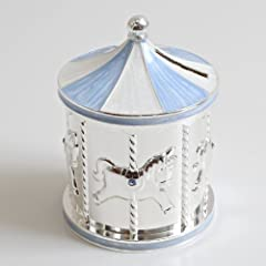 Idea Regalo - Argento placcato Carousel Money Box Blu