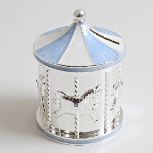 Argento placcato Carousel Money Box Blu