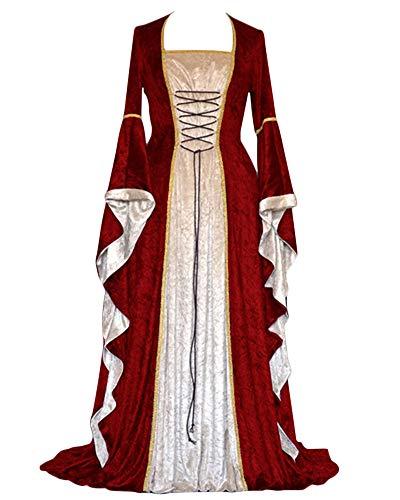PengGengA Vestito Medievale Manicotto Allentato Benda da Donna Abito Lungo retrò Costume di Halloween Bodeaux M