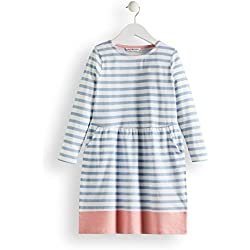 RED WAGON Vestido de Rayas con Manga Larga Niña, (Blue and White), 134 (Talla del Fabricante: 10)
