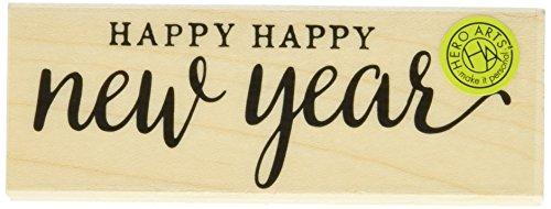 Hero Arts Holz montiert Stempel 3.75-inch X 1.5-inch-Happy Happy New Year -
