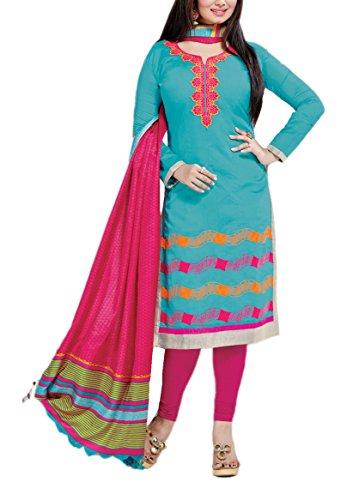 Vansika Sarees Women's Cotton Silk Unstitched Dress Material (Blue)