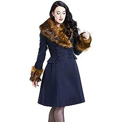 Hell Bunny Roxy Coat de invierno azul/marrón