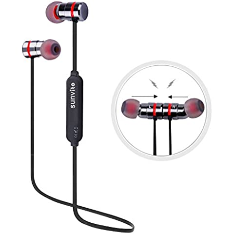 Auriculares Inalámbricos de Deportes,Sunvito 4.1 Magnético Auriculares In-Ear Manos Libres con Bluetooth con Micrófono, Prueba de Sudor y Diseño Ergonómico (Negro-gris)