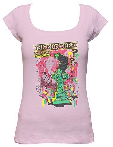 s Party Damen Boat Neck T-Shirt_rosa_XL (Halloween Grabstein Zeichnungen)