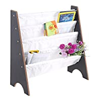 Kids Bookcase, Kids Sling Book Shelf Wooden Bookcase Book Storage Display Rack Holder Organizer Bookshelf Children Furniture for Children