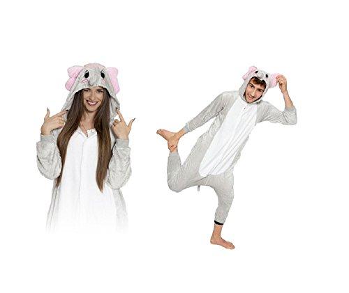Onesie Graue Elefant S Große Cosplay Kostüme Pyjama Erwachsene Unisex