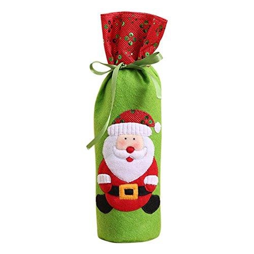 Wildlead 1pz natale bottiglia di vino decorazione natalizia in sacchetto di bottiglia set decorazione di natale ornamento, santa claus