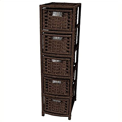 Oriental Furniture Excellent Quality Inexpensive DVD/CD Media Storage, 41-Inch Rattan Style Natural Fiber 5 Drawer Narrow Chest, Mocha
