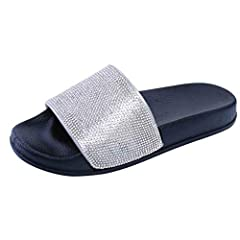 bf2b343e9 TEELONG Womens Flat Slides Sandals Diamante Sparkly Sliders Colorful  Diamond Slippers Size 4-6.5 - Casual Women s Shoes