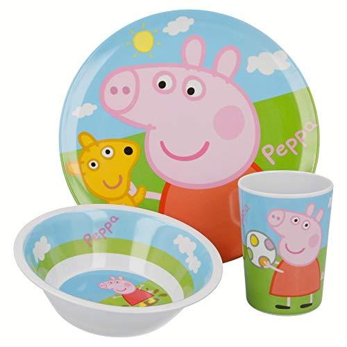 Offizielles Nickelodeon Peppa Pig Geschirr-Set aus Melamin, BPA-frei, Teller, Schale und Becher, 3-teiliges Set
