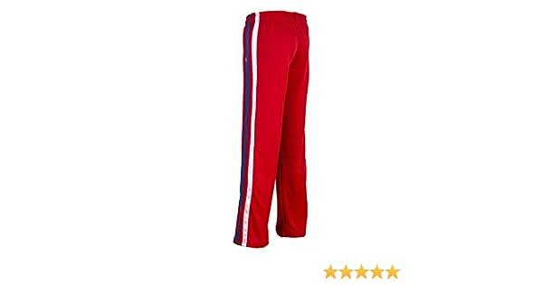 JL Sport Autentico Pantaloni Brasileiana Capoeira Arti Marziali degli Uomini Rosso con Le Verticali Bein Righe Bianche E Blu