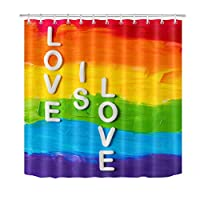 changchuan Rainbow Gay Pride Shower Curtain With Hooks,LGBT Flag Love Is Love Valentines Day Bathroom Curtains Waterproof Polyester Fabric 60X72 Inch