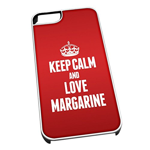 Duke Gifts Bianco Cover per iPhone 5/5S 1251 Red Keep Calm And Love M