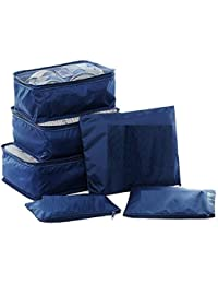 OxbOw Packing Cubes, 6pcs Travel Storage Bag Organizer Luggage Suitcase Compression Pouches (Navy)