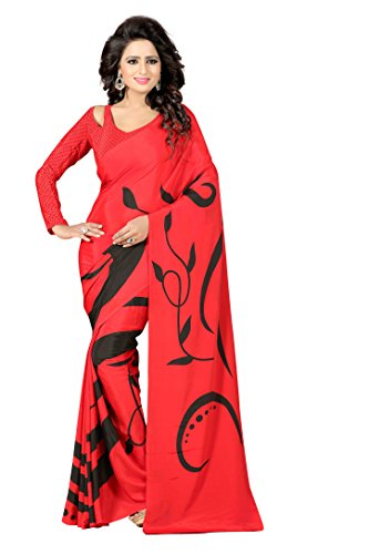 The Fashion Outlets Women's Italian Crepe Silk Lace Work Sarees(Free Size_Red)