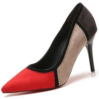 SANMULYH Donne'S Scarpe Molla Pu Cadere Comfort Tacchi Stiletto Heel Punta Di Mandorla Casual Rosso Nero Rosso