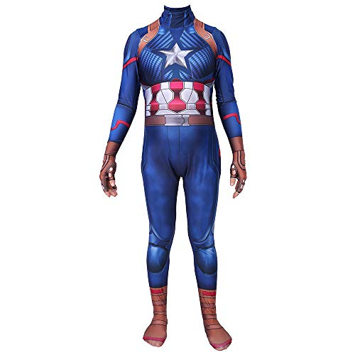 YIWANGO Erwachsener Kind Captain America Halloween Kostümball Superhelden-Set Strumpfhosen Party Cosplay Kostüm,Kid-S