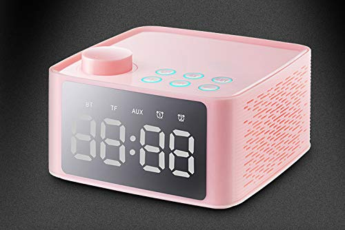 Bluetooth Speaker with Bracket Double Alarm Clock Radio Card Bass Gun Table Multi-Function Gift Audio  Pink