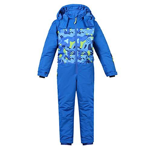 LPATTERN Kinder Jungen/Mädchen Skianzug Schneeanzug Skioverall Einteiler mit Kapuze, Blau, Gr. 4Y/104(Herstellergröße: 4Y/104)   08712129540092