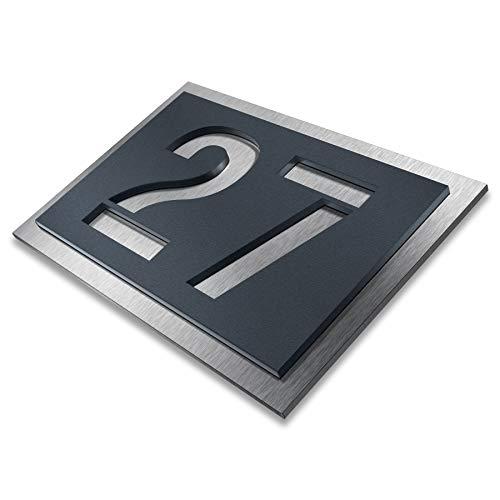 Hausnummer aus Edelstahl - wählbar in Anthrazit-Grau RAL 7016 / Schwarz/Weiß/Blau - Rostfrei & wetterfest, individuell - nach Wunsch - made in Germany