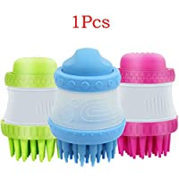 Angoter Pet Bath & Massage Brush Scrubber Shampoo Dispenser Silicone Brushes Pets Cleaning Device Washer Bathing Comb Tool