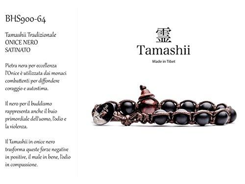 Bracciale tibetano Onice nero satinato Nero BHS900-64